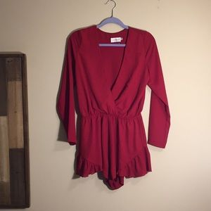 Long Sleeved Red Romper